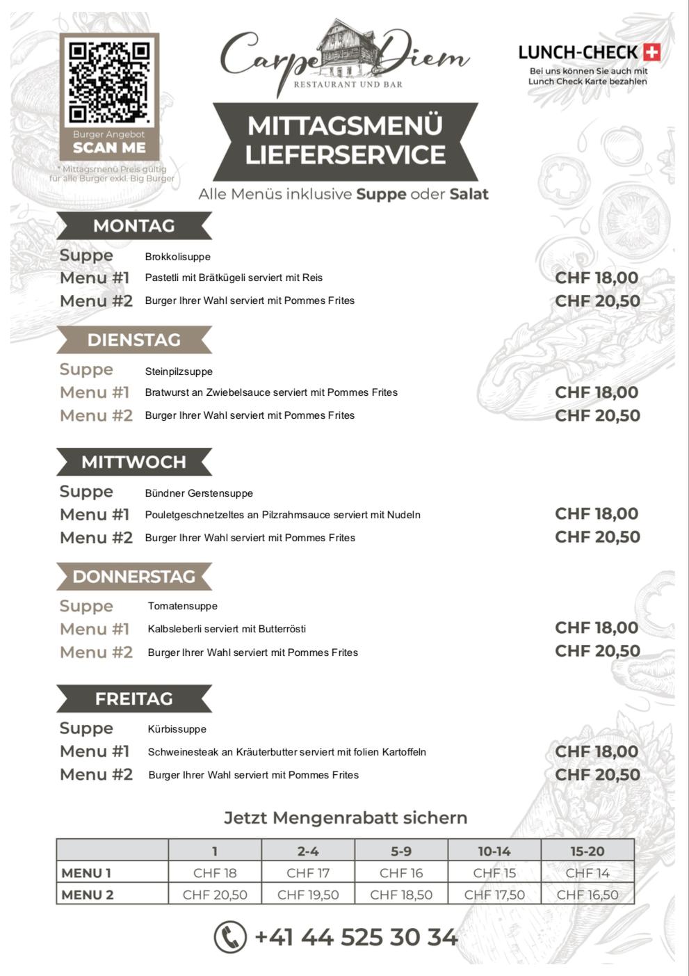 Carpe Diem Lieferservice Mittags Menü Angebot KW42